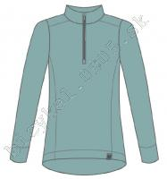 Tričko dámske BLVD MERINO LS 1/4 zips modré /Vel:M